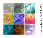set of low poly mosaic... | Shutterstock .eps vector #763114627