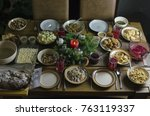 a festive christmas eve dinner... | Shutterstock . vector #763119337