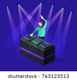 isometric 3d vector dj party on ... | Shutterstock .eps vector #763123513