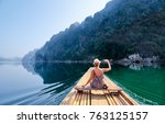 travel and technology. pretty... | Shutterstock . vector #763125157