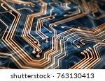 3d rendering. circuit board... | Shutterstock . vector #763130413
