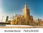 warsaw palace of culture and... | Shutterstock . vector #763134103