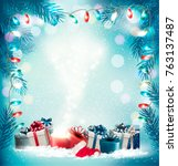 christmas holiday background... | Shutterstock .eps vector #763137487