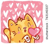 cute ginger cat character in... | Shutterstock .eps vector #763140337
