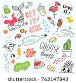 set of colorful doodle on paper ... | Shutterstock .eps vector #763147843
