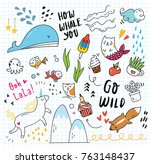 set of colorful doodle on paper ... | Shutterstock .eps vector #763148437