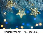 fir tree branch decorated with...   Shutterstock . vector #763158157