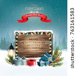 merry christmas background with ... | Shutterstock .eps vector #763161583