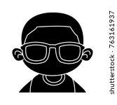 cute boy with sunglasses cartoon | Shutterstock .eps vector #763161937