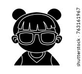 cute girl with sunglasses... | Shutterstock .eps vector #763161967