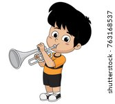 kid playing trumpet.vector and... | Shutterstock .eps vector #763168537