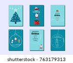 collection of merry christmas... | Shutterstock .eps vector #763179313