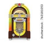 vintage jukebox radio isolated. ... | Shutterstock . vector #763181053