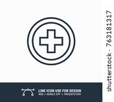 icon health cross circle symbol ... | Shutterstock .eps vector #763181317