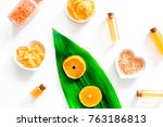 organic cosmetic with citrus.... | Shutterstock . vector #763186813