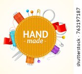 realistic 3d hand made knitted...   Shutterstock .eps vector #763197187