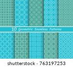 set of seamless line patterns.... | Shutterstock .eps vector #763197253
