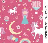 seamless pattern with magic... | Shutterstock .eps vector #763198297