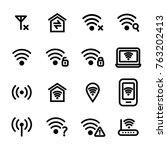 wifi wreless sign black thin... | Shutterstock .eps vector #763202413