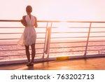 cruise ship vacation woman... | Shutterstock . vector #763202713