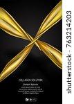 golden oil cosmetic cream... | Shutterstock .eps vector #763214203