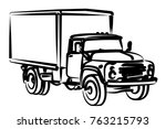 sketch of the old big truck.  | Shutterstock .eps vector #763215793