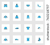 garment colorful icons set with ... | Shutterstock .eps vector #763218757