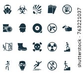 safety icons set with chemical... | Shutterstock .eps vector #763221037