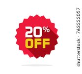 sale tag vector badge template  ... | Shutterstock .eps vector #763222057