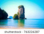 the big rock on the sea. view... | Shutterstock . vector #763226287