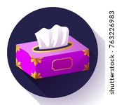 vector tissue box flat icon.... | Shutterstock .eps vector #763226983