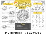 vintage holiday christmas menu... | Shutterstock .eps vector #763234963