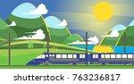 passenger train in the... | Shutterstock .eps vector #763236817