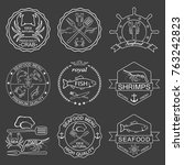 vector set of seafood labels | Shutterstock .eps vector #763242823