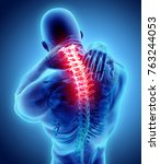 3d illustration  neck painful   ... | Shutterstock . vector #763244053