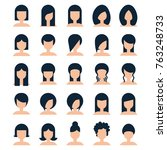 collection hairstyle for woman... | Shutterstock .eps vector #763248733