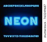 neon tube alphabet font. white... | Shutterstock .eps vector #763249687