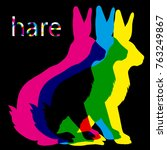 color hare on a black