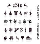 set of black christmas and new... | Shutterstock .eps vector #763251847