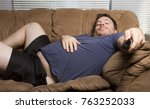 Overweight Man Just Watching T...