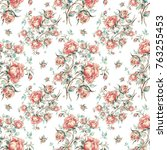 seamless pattern of vintage... | Shutterstock . vector #763255453