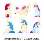 set of unicorns isolated on... | Shutterstock .eps vector #763259083