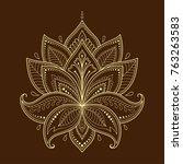 henna tattoo flower template in ... | Shutterstock .eps vector #763263583