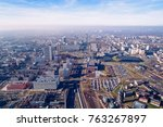 aerial drone view on katowice ... | Shutterstock . vector #763267897