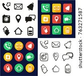 mobile phone all in one icons... | Shutterstock .eps vector #763271587