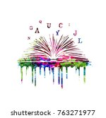colorful book with alphabet...   Shutterstock .eps vector #763271977