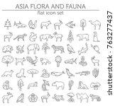 flat asian flora and fauna ... | Shutterstock .eps vector #763277437