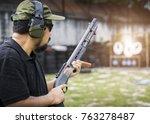 view of a man with a shotgun...   Shutterstock . vector #763278487