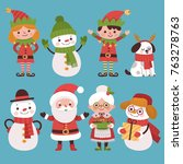 a set of new year characters... | Shutterstock .eps vector #763278763