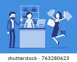 man paying for shopping. young... | Shutterstock .eps vector #763280623